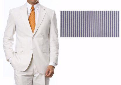 Picture of 100% Pure Cotton Seersucker - Blue / White