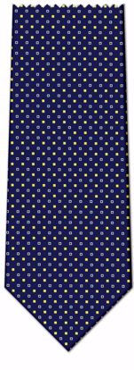 Picture of 100% SILK WOVEN  - BLUE WITH WHITE/YELLOW DOTS
