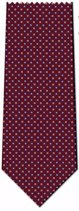 Picture of 100% SILK WOVEN  - BURGANDY WITH WHITE/BLUE DOTS