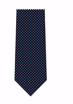 Picture of 100% SILK WOVEN  - NAVY WITH WHITE/BLUE DOTS
