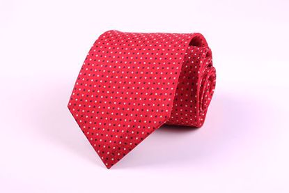 Picture of 100% SILK WOVEN  - RED WITH NAVY/GRAY DOTS