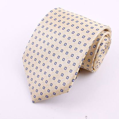 Picture of 100% SILK WOVEN  - YELLOW GEOMETRIC BLUE DOTS