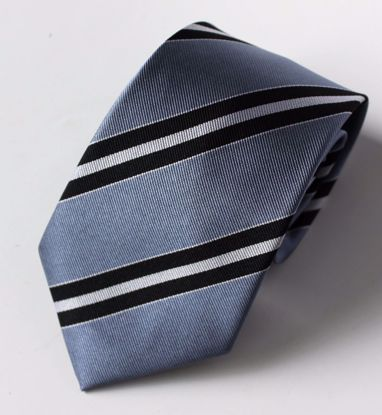 Picture of 100% SILK WOVEN - BLUE AND BLACK STRIPE