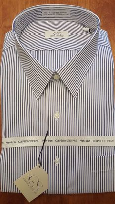 Picture of Banker's Stripe Spread Collar Wrinkle Free (2 Color Options)
