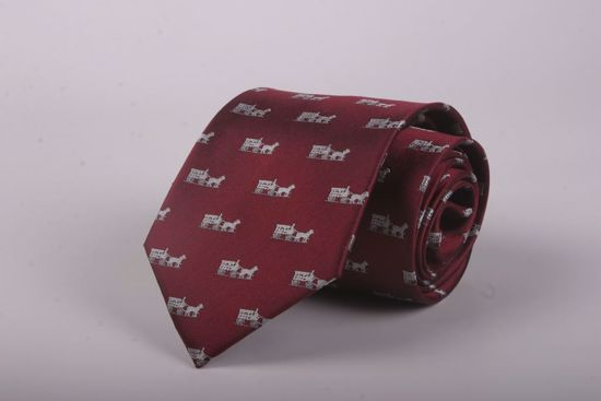 Picture of HORSE & CARRIAGE-BURGANDY - 100% SILK WOVEN TEXTURED NECKTIE