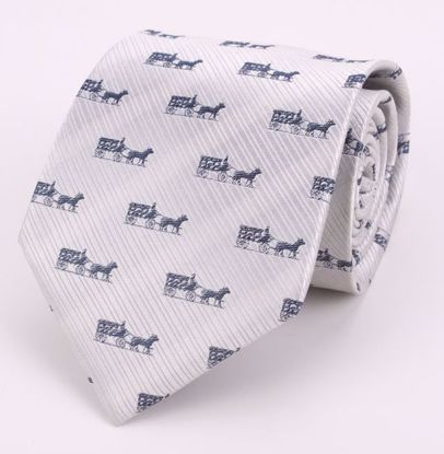 Picture of HORSE & CARRIAGE-SILVER/NAVY- 100% SILK WOVEN TEXTURED NECKTIE