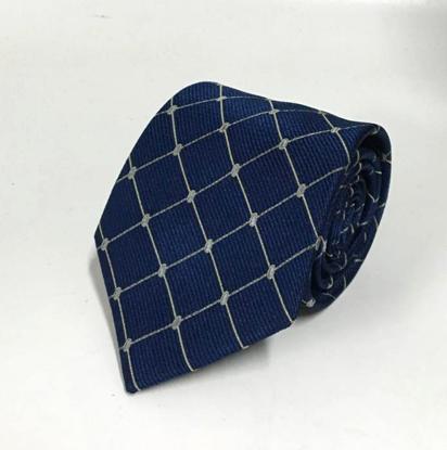 Picture of Navy 100% Silk Woven Geometric Pattern Necktie