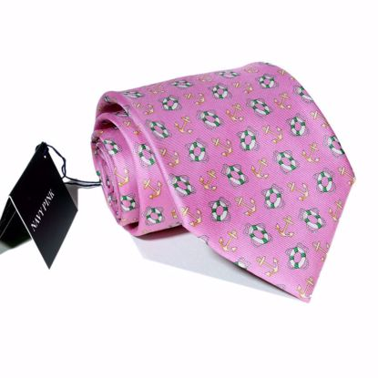 Picture of Pink - 100% SILK WOVEN GEOMETRIC NECKTIE