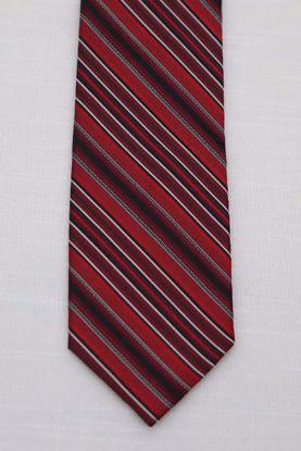 Picture of Red - 100% SILK WOVEN TEXTURED MINI STRIPE NECKTIE