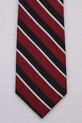 Picture of Red - 100% SILK WOVEN TEXTURED MULTI COLORED STRIPE NECKTIE