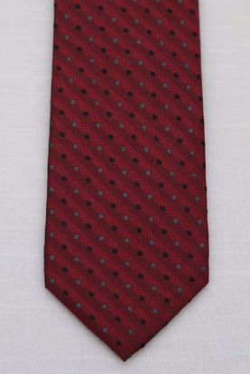 Picture of Red - 100% SILK WOVEN TEXTURED PIN DOT NECKTIE