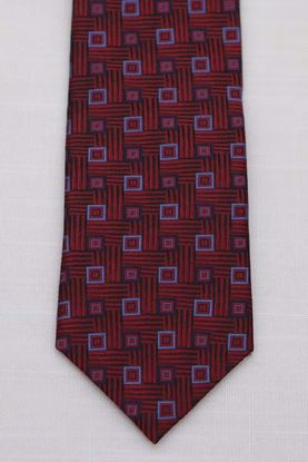 Picture of Red - 100% SILK WOVEN TEXTURED TOSSED BOX NECKTIE