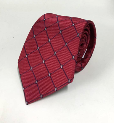 Picture of Red 100% Silk Woven Geometric Pattern Necktie