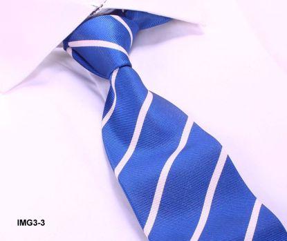 Picture of SILK WOVEN MULTI-COLOR STRIPE TIE - BLUE/WHITE STRIPE