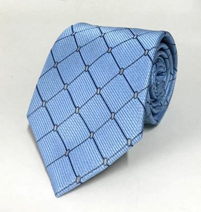 Picture of Sky Blue 100% Silk Woven Geometric Pattern Necktie
