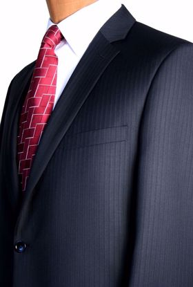 Picture of Traditional Fit (100% Worsted Wool) - Grey Pin Stripe