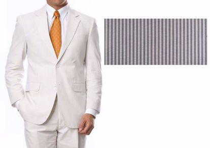 Picture of 100% Pure Cotton Seersucker - Tan / White