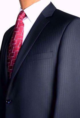 Picture of Portly Fit (100% Worsted Wool) - Navy Pin Stripe