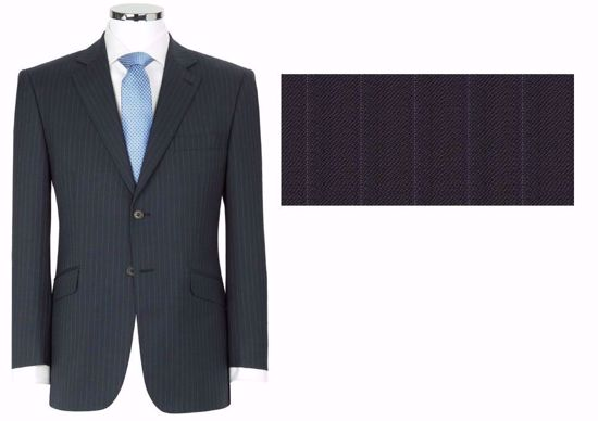 Picture of 52% Poly / 47% Wool / 1% Lycra(Spandex-like) - Subdued Navy Stripe