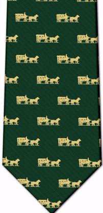 Picture of 100% SILK WOVEN  - HUNTER GREEN WITH GOLD HORSE AND CARRIAGE LOGO