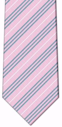 Picture of 100% Silk Woven Stripe Tie - Pink